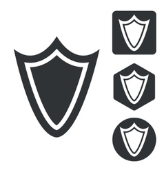 Shield icon set monochrome vector