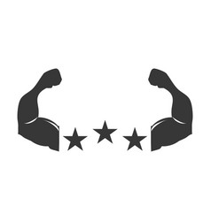 silhouette muscular arms with stars shape vector image