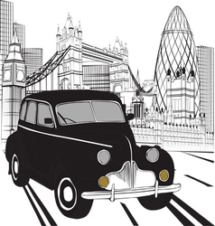 Sketch London taxi vector image