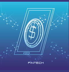 Smartphone with money fintech concept vector
