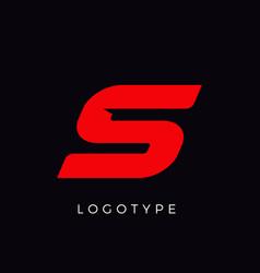 Speed letter s red race monogram logo italic vector