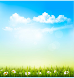 Spring nature background with a green grass and vector