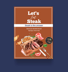 Steak poster design with french fries grilled vector