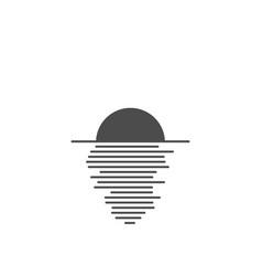 sunset in ocean - minimalist icon vector image