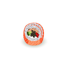 sushi roll with fresh salmon isolated on white vector image