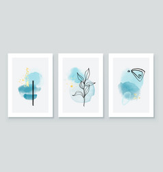 Teal and peach abstract watercolor compositions vector
