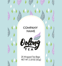 Template packaging oolong tea company name vector