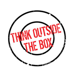 Think outside the box rubber stamp vector