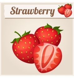 Three strawberries Detailed Icon vector