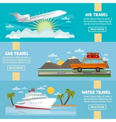 Travel Banners Set with Airplane Car Ship vector