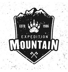 traveling and camping badge with mountains vector image