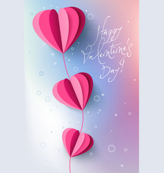 valentines day paper cut branch flower banner vector image