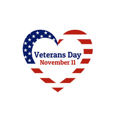 Veterans day holiday background with heart shaped vector