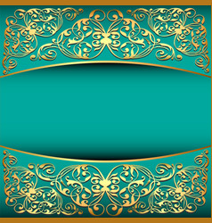Vintage background frame with gold ornament and vector