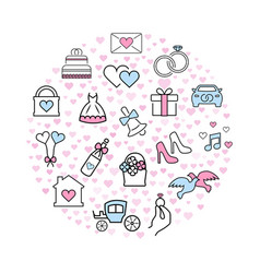 wedding icons in thin line style vector image