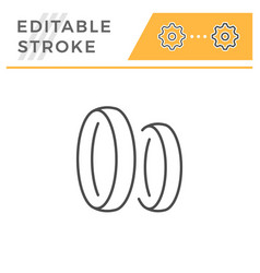 wedding rings editable stroke line icon vector image