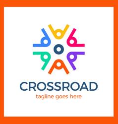 wheel crossroad logotype vector image