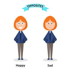 Wordcard for happy and sad antonyms and opposites vector