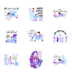 World book day set holiday poster - flat design vector