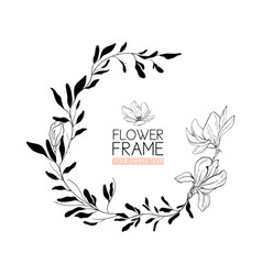 Wreath magnolia flower drawing and sketch with vector