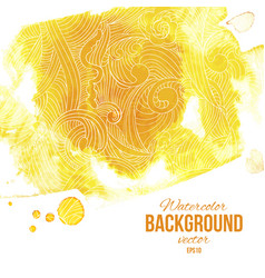 Yellow watercolor splash background with linear vector