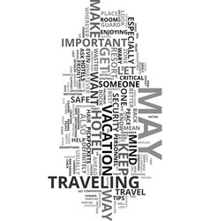 your travel safety guide text word cloud concept vector image