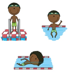 African-American swimmer boys vector image