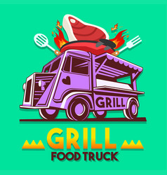 food truck grill bbq fast delivery service logo vector image vector image