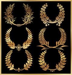 golden laurel wreaths set vector image vector image