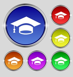 Graduation icon sign Round symbol on bright vector image