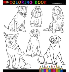 Cartoon dogs or puppies coloring page vector