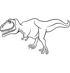 cartoon tyrannosaurus dinosaur for coloring book vector image vector image