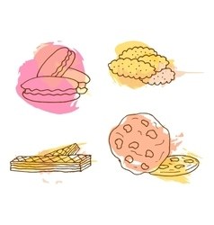 cookie Set of 4 hand drawn vector image