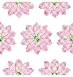 cross stitch lotus seamless pattern vector image