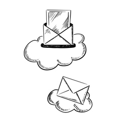 E-mail symbols with letters and clouds vector image vector image