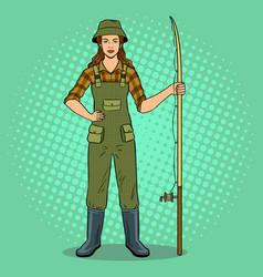fisherman girl pop art vector image