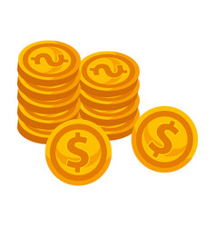 golden coins piles with dollar sign isolated vector image