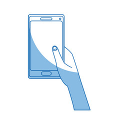 hand holding smartphone application digital vector image vector image