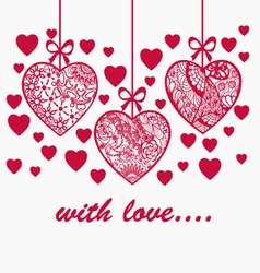 Romantic valentine day hand drawn background with vector image vector image