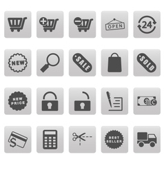 Shopping icons on gray squares vector image vector image