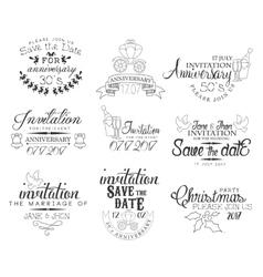 Special occasion hand drawn invitation set vector