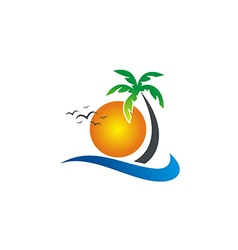 sunset beach tropic palm tree logo vector image vector image