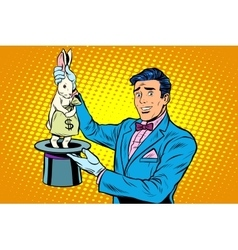 Businessman magician and Bunny money vector image