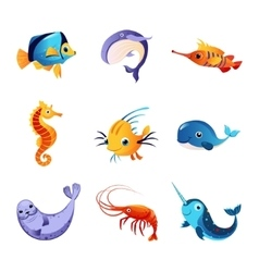 Colorful Sea Animals Set vector image vector image
