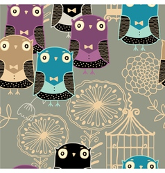 owl pattern background vector image