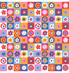 pattern floral simple color vector image vector image