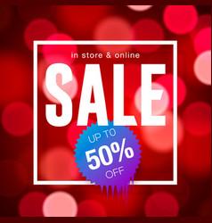 sale banner design red blurred background vector image vector image
