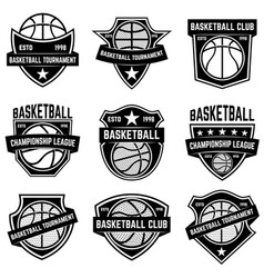 set of basketball sport emblems design element vector image