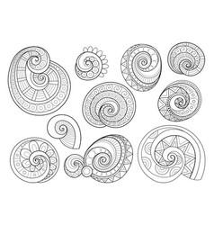 set of monochrome contour floral doodles vector image