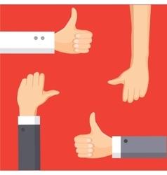 Thumbs up and thumbs down cartoon vector